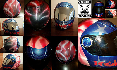 Patriotic flag themed motorcycle helmet
