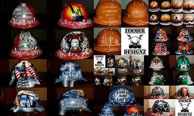 Collage of custom hard hats