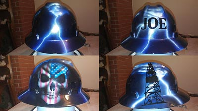 Skull flag custom painted hard hats