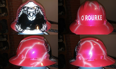 custom hard hat honey bader pink opt