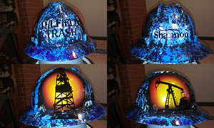 custom painted hard hat oilfield trash blue shannon