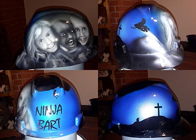 family portrait Bart hard hat custom airbrush paint