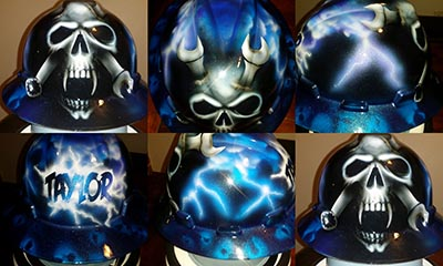 lightning skulls and wrenches hard hat