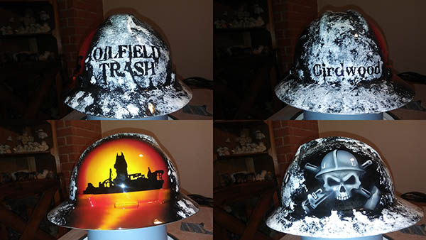 oilfield trash drill ship hard hat custom painted