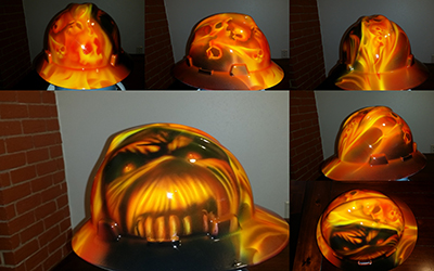 skull flames custom hard hat