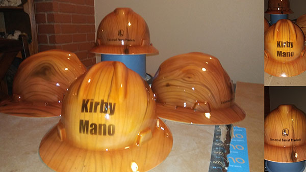 wood grain custom painted hard hat airbrush paint