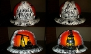 airbrushed oilfield trash hard hat in white