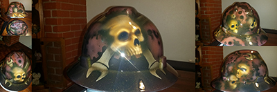 mechanic skulls and gears hard hat custom airbrush paint